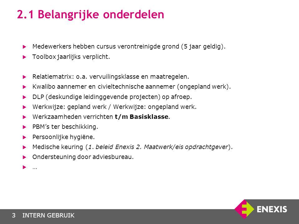 INTERN GEBRUIK4 2.2 Relatiematrix  Groen/ oranje: Medewerkers van Enexis voeren werkzaamheden uit t/m Basisklasse.