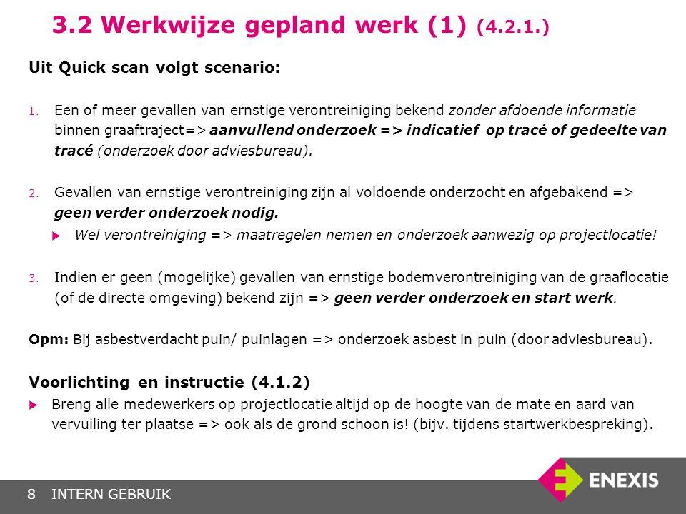 INTERN GEBRUIK9 3.2 Werkwijze gepland werk (2) (4.2.1.) Uitvoeringsfase:  Een puinlaag kan asbestdeeltjes bevatten (asbestverdacht).