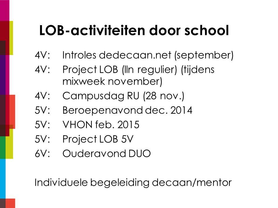 LOB-activiteiten door school 4V:Introles dedecaan.net (september) 4V: Project LOB (lln regulier) (tijdens mixweek november) 4V:Campusdag RU (28 nov.) 5V:Beroepenavond dec.