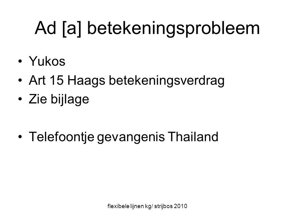 flexibele lijnen kg/ strijbos 2010 Ad [a] betekeningsprobleem Yukos Art 15 Haags betekeningsverdrag Zie bijlage Telefoontje gevangenis Thailand