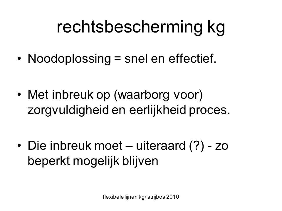 flexibele lijnen kg/ strijbos 2010 rechtsbescherming kg Noodoplossing = snel en effectief.
