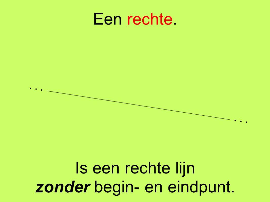 Een rechte. Is een rechte lijn zonder begin- en eindpunt.