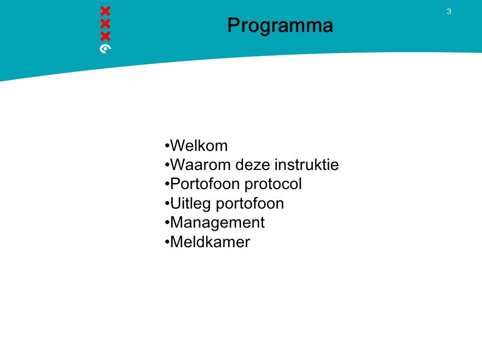 3 Programma Welkom Waarom deze instruktie Portofoon protocol Uitleg portofoon Management Meldkamer
