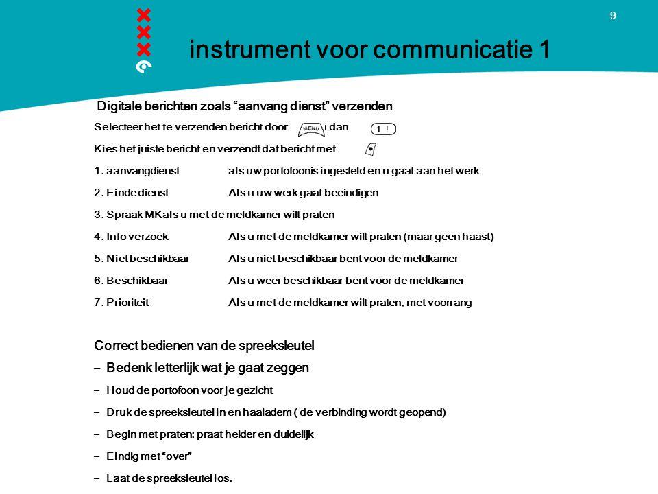 9 instrument voor communicatie 1 Digitale berichten zoals aanvang dienst verzenden Selecteer het te verzenden bericht door en dan Kies het juiste bericht en verzendt dat bericht met 1.