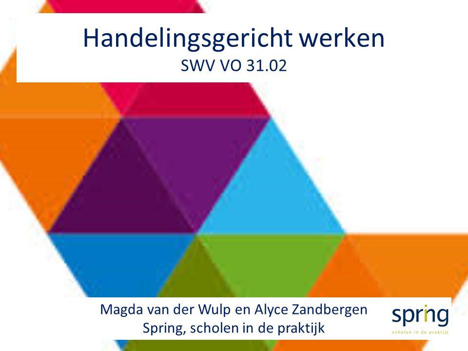 1 Handelingsgericht werken SWV VO 31.02 Magda van der Wulp en Alyce Zandbergen Spring, scholen in de praktijk