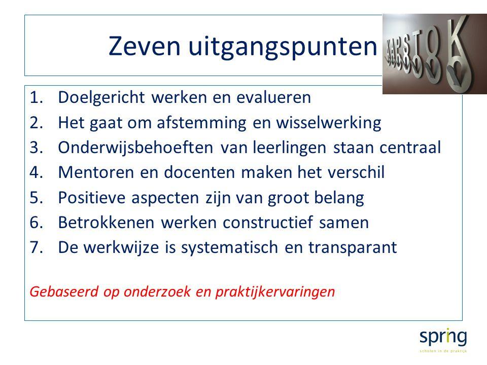 Zeven uitgangspunten 1.Doelgericht werken en evalueren 2.Het gaat om afstemming en wisselwerking 3.Onderwijsbehoeften van leerlingen staan centraal 4.