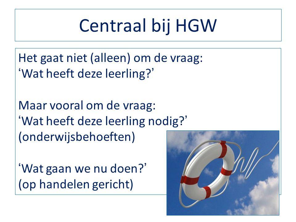 Centraal bij HGW Het gaat niet (alleen) om de vraag: 'Wat heeft deze leerling?' Maar vooral om de vraag: 'Wat heeft deze leerling nodig?' (onderwijsbe