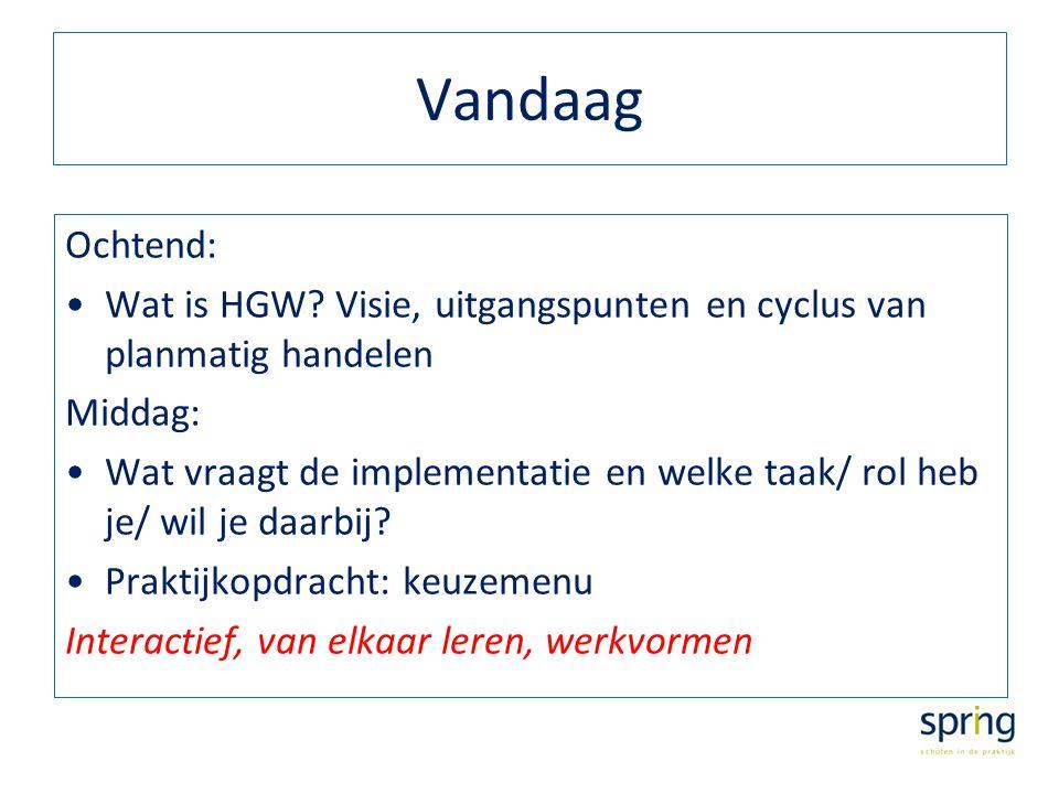 Vandaag Ochtend: Wat is HGW? Visie, uitgangspunten en cyclus van planmatig handelen Middag: Wat vraagt de implementatie en welke taak/ rol heb je/ wil