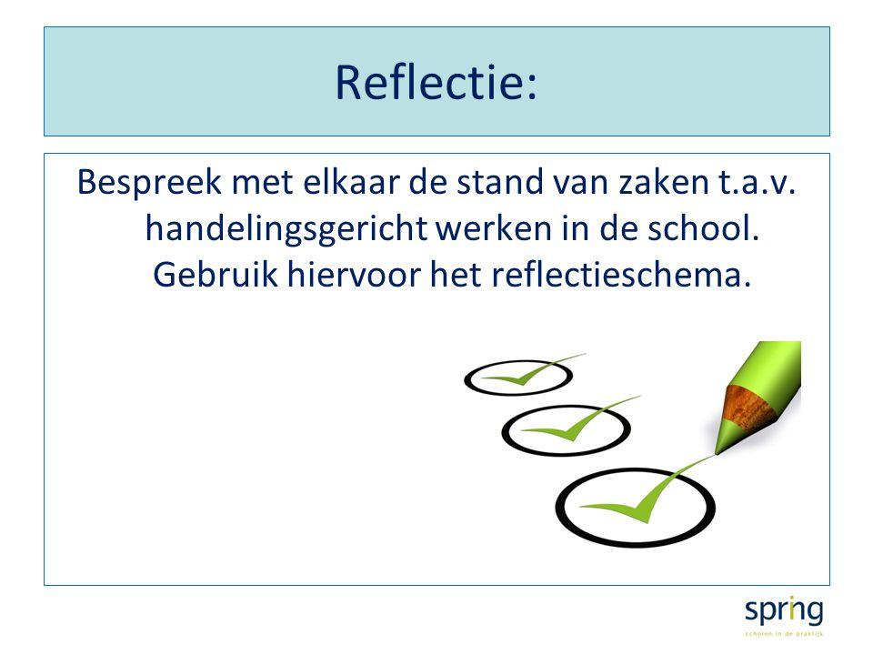 Reflectie: Bespreek met elkaar de stand van zaken t.a.v. handelingsgericht werken in de school. Gebruik hiervoor het reflectieschema.