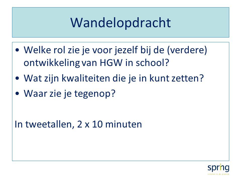 Wandelopdracht Welke rol zie je voor jezelf bij de (verdere) ontwikkeling van HGW in school? Wat zijn kwaliteiten die je in kunt zetten? Waar zie je t