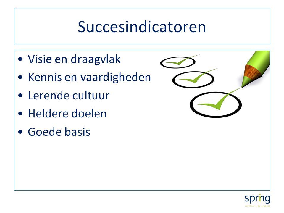 Succesindicatoren Visie en draagvlak Kennis en vaardigheden Lerende cultuur Heldere doelen Goede basis