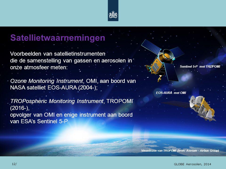 28/10/13 Visualisatie van TROPOMI (bron: Astrium – Airbus Group) Sentinel 5-P met TROPOMI Satellietwaarnemingen 12/ GLOBE Aerosolen, 2014 Voorbeelden