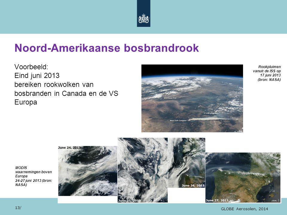 28/10/13 Noord-Amerikaanse bosbrandrook 13/ GLOBE Aerosolen, 2014 Voorbeeld: Eind juni 2013 bereiken rookwolken van bosbranden in Canada en de VS Euro