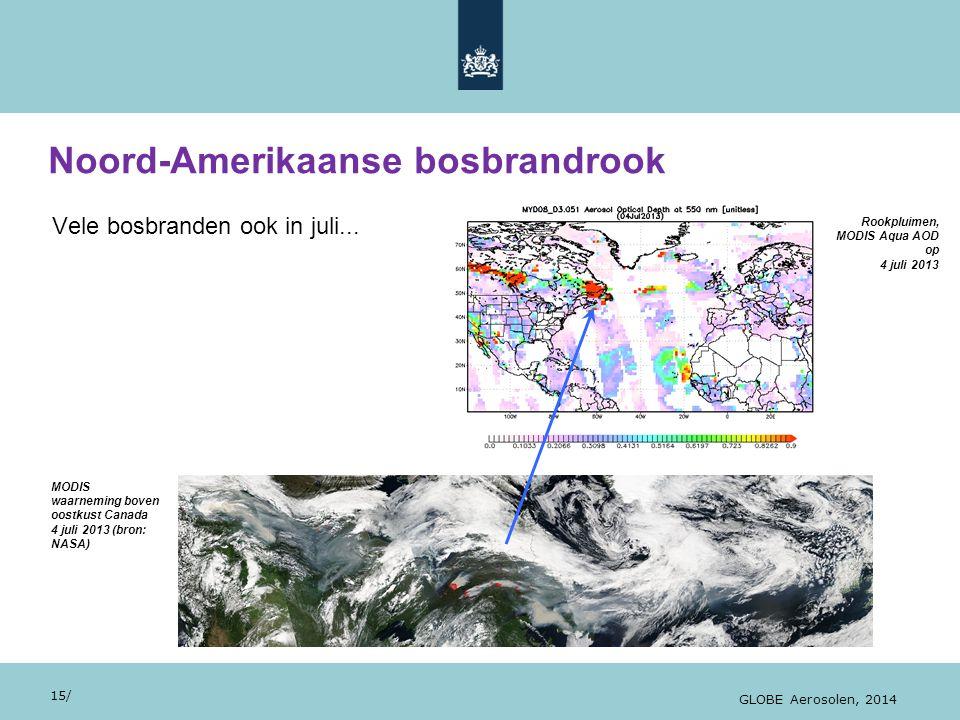 28/10/13 Vele bosbranden ook in juli... Noord-Amerikaanse bosbrandrook 15/ GLOBE Aerosolen, 2014 MODIS waarneming boven oostkust Canada 4 juli 2013 (b