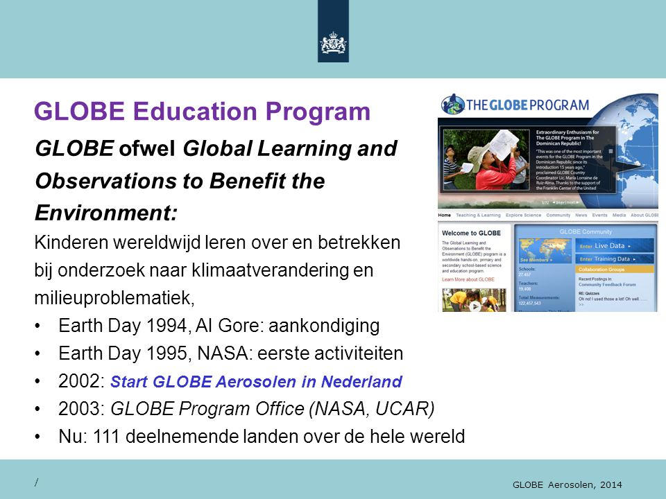 GLOBE Education Program / GLOBE Aerosolen, 2014...