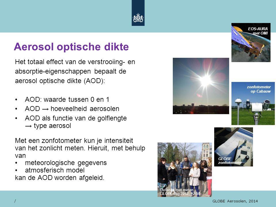 Aerosol optische dikte / GLOBE Aerosolen, 2014 Het totaal effect van de verstrooiing- en absorptie-eigenschappen bepaalt de aerosol optische dikte (AO