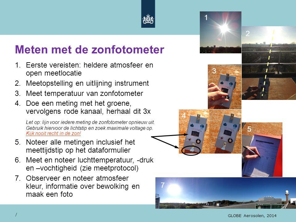 Meten met de zonfotometer / GLOBE Aerosolen, 2014 1.Eerste vereisten: heldere atmosfeer en open meetlocatie 2.Meetopstelling en uitlijning instrument