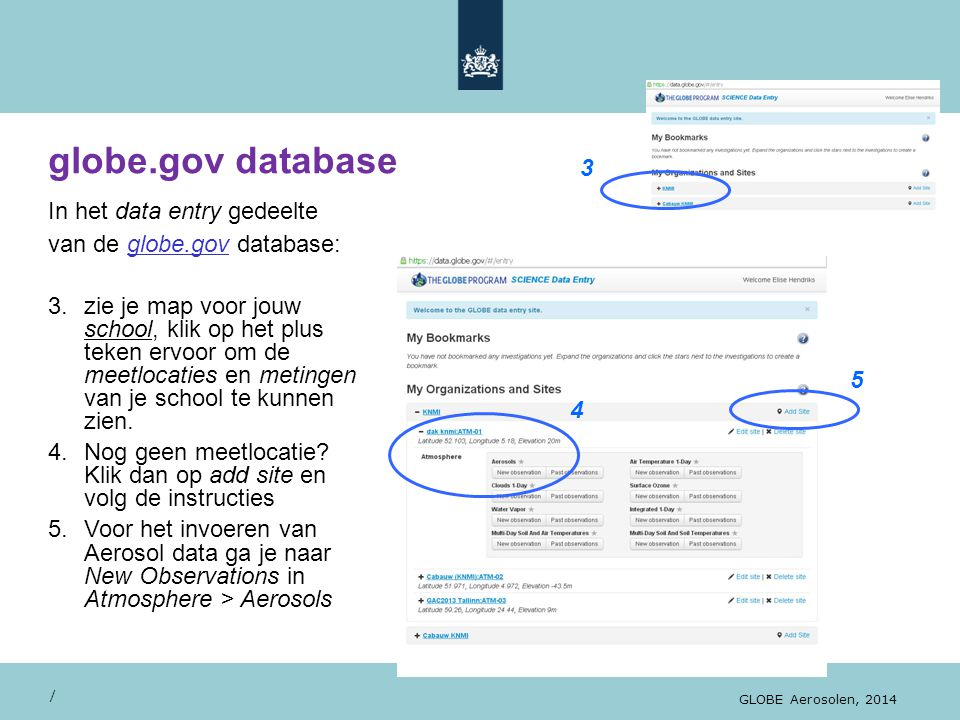 globe.gov database / GLOBE Aerosolen, 2014 In het data entry gedeelte van de globe.gov database: 3.zie je map voor jouw school, klik op het plus teken ervoor om de meetlocaties en metingen van je school te kunnen zien.