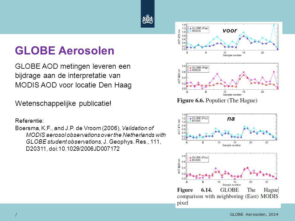 28/10/13 GLOBE AOD metingen leveren een bijdrage aan de interpretatie van MODIS AOD voor locatie Den Haag Wetenschappelijke publicatie! Referentie: Bo