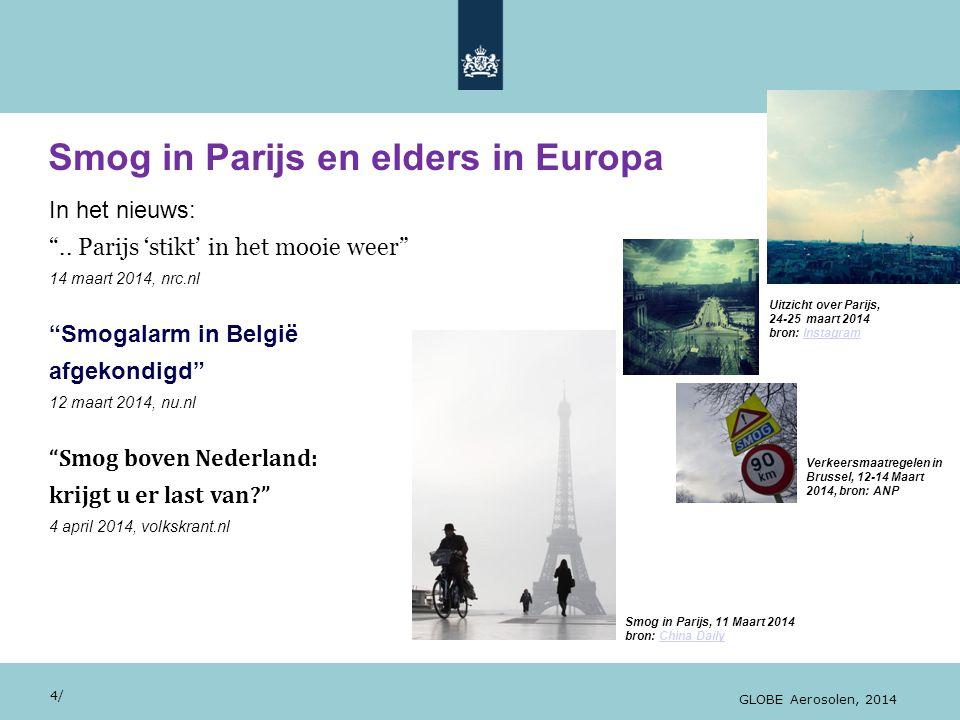 """28/10/13 Smog in Parijs en elders in Europa 4/ GLOBE Aerosolen, 2014 In het nieuws: """".. Parijs 'stikt' in het mooie weer"""" 14 maart 2014, nrc.nl """"Smoga"""