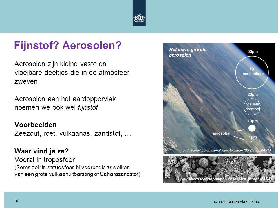 28/10/13 Fijnstof? Aerosolen? 9/ GLOBE Aerosolen, 2014 Aerosolen zijn kleine vaste en vloeibare deeltjes die in de atmosfeer zweven Aerosolen aan het