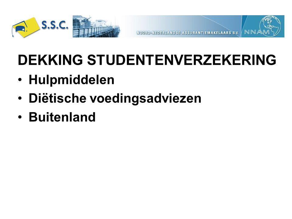 DEKKING STUDENTENVERZEKERING Hulpmiddelen Diëtische voedingsadviezen Buitenland