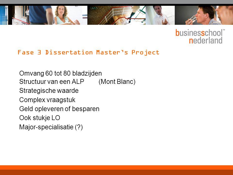 Fase 3 Dissertation Master's Project Omvang 60 tot 80 bladzijden Structuur van een ALP (Mont Blanc) Strategische waarde Complex vraagstuk Geld oplever