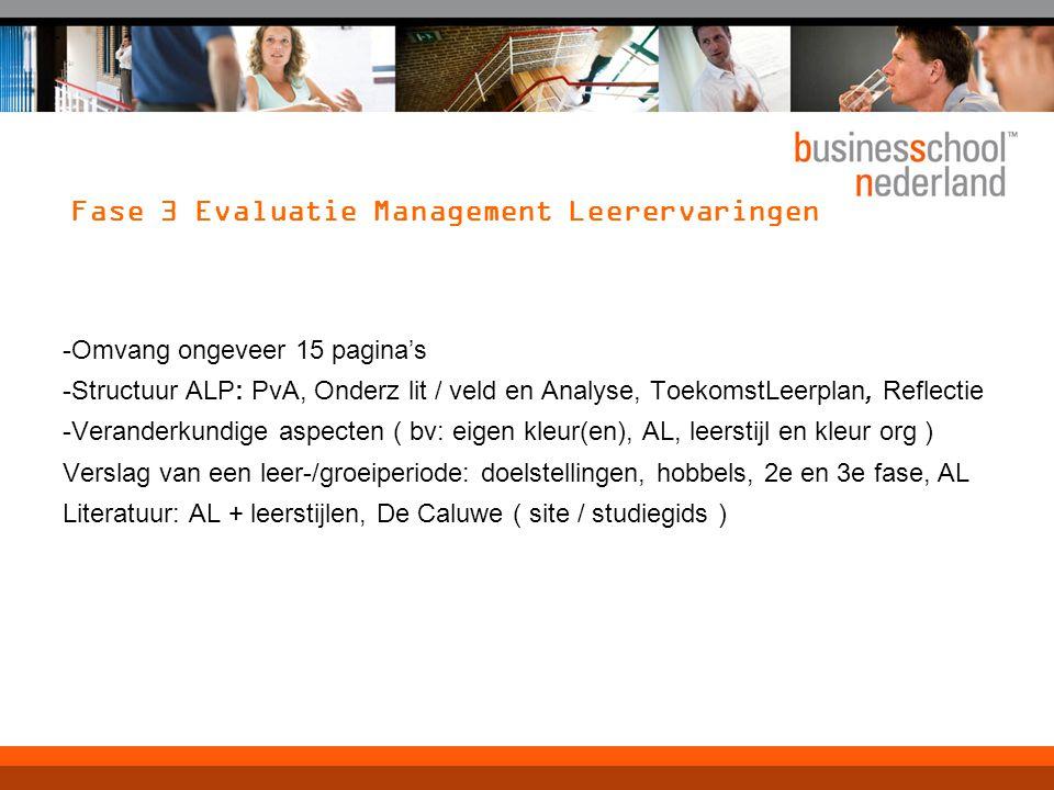 Fase 3 Evaluatie Management Leerervaringen -Omvang ongeveer 15 pagina's -Structuur ALP: PvA, Onderz lit / veld en Analyse, ToekomstLeerplan, Reflectie
