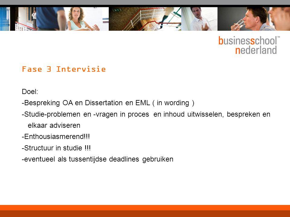 Fase 3 Intervisie Doel: -Bespreking OA en Dissertation en EML ( in wording ) -Studie-problemen en -vragen in proces en inhoud uitwisselen, bespreken e