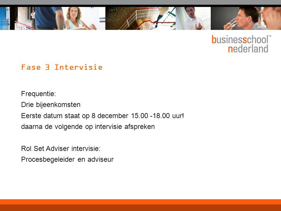 Fase 3 Intervisie Frequentie: Drie bijeenkomsten Eerste datum staat op 8 december 15.00 -18.00 uur! daarna de volgende op intervisie afspreken Rol Set