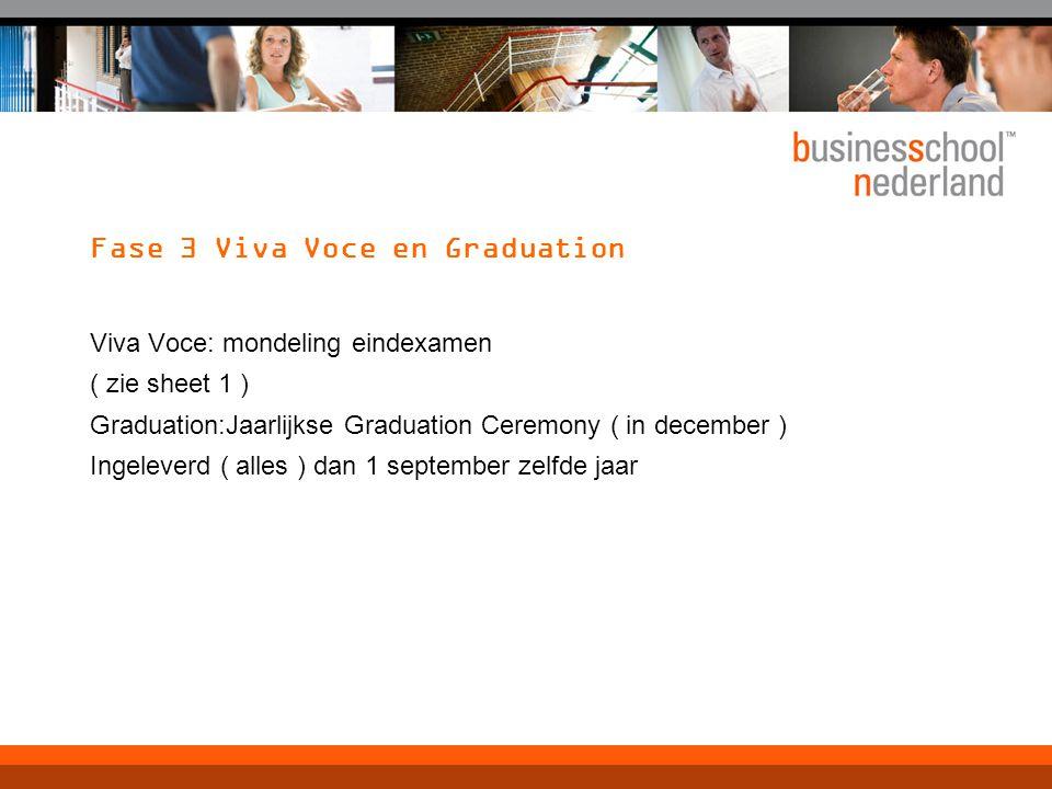 Fase 3 Viva Voce en Graduation Viva Voce: mondeling eindexamen ( zie sheet 1 ) Graduation:Jaarlijkse Graduation Ceremony ( in december ) Ingeleverd (