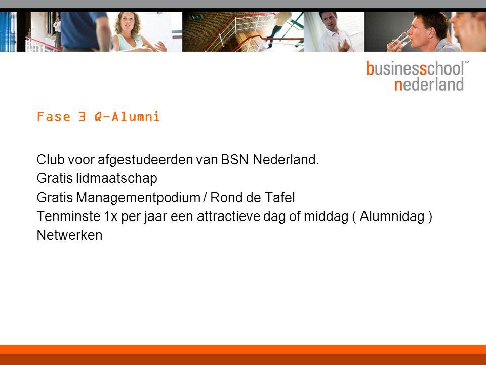Fase 3 Q-Alumni Club voor afgestudeerden van BSN Nederland. Gratis lidmaatschap Gratis Managementpodium / Rond de Tafel Tenminste 1x per jaar een attr