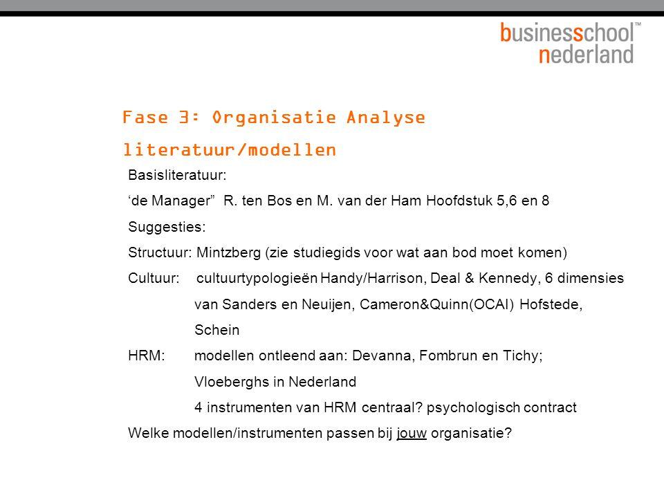"""Fase 3: Organisatie Analyse literatuur/modellen Basisliteratuur: 'de Manager"""" R. ten Bos en M. van der Ham Hoofdstuk 5,6 en 8 Suggesties: Structuur: M"""