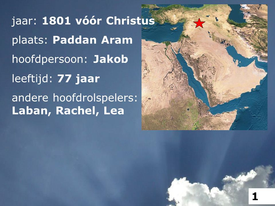 jaar: 1801 vóór Christus plaats: Paddan Aram hoofdpersoon: Jakob leeftijd: 77 jaar andere hoofdrolspelers: Laban, Rachel, Lea 1
