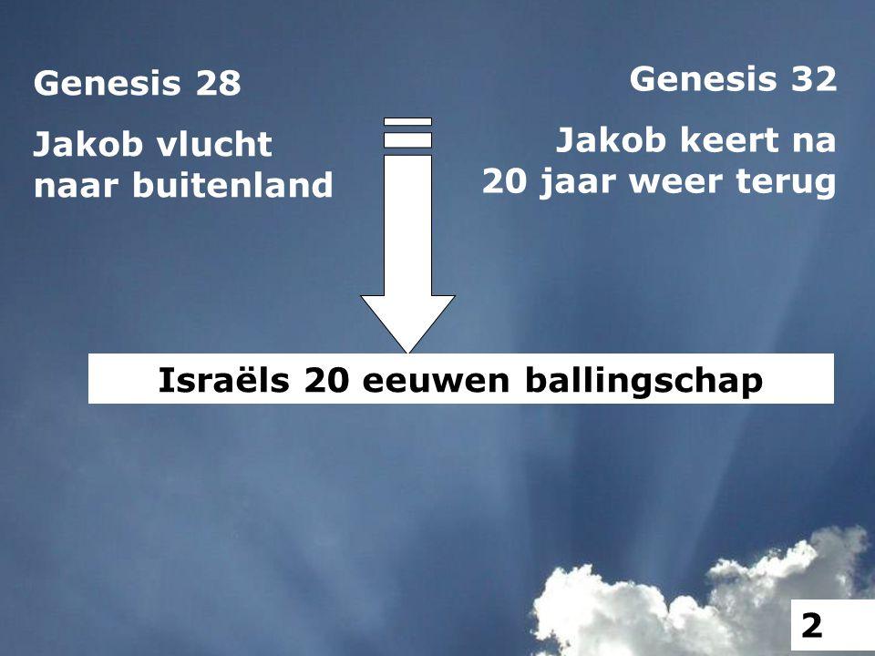 Genesis 28 Jakob vlucht naar buitenland Genesis 32 Jakob keert na 20 jaar weer terug Israëls 20 eeuwen ballingschap 2