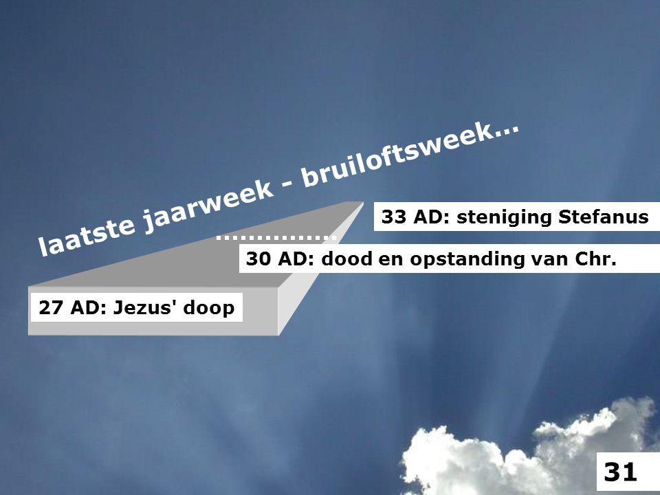 laatste jaarweek - bruiloftsweek... 27 AD: Jezus' doop 30 AD: dood en opstanding van Chr. 33 AD: steniging Stefanus 31