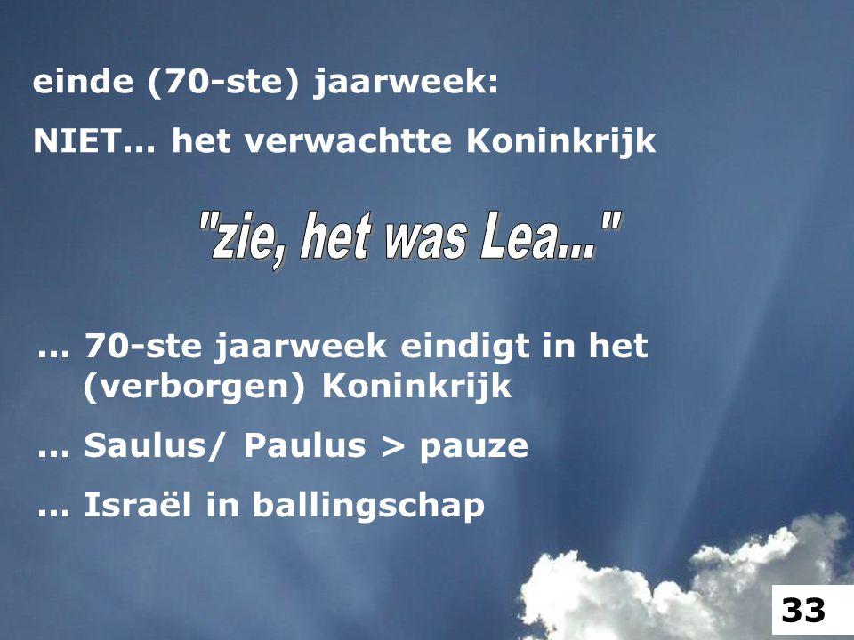 ... 70-ste jaarweek eindigt in het (verborgen) Koninkrijk... Saulus/ Paulus > pauze... Israël in ballingschap einde (70-ste) jaarweek: NIET... het ver