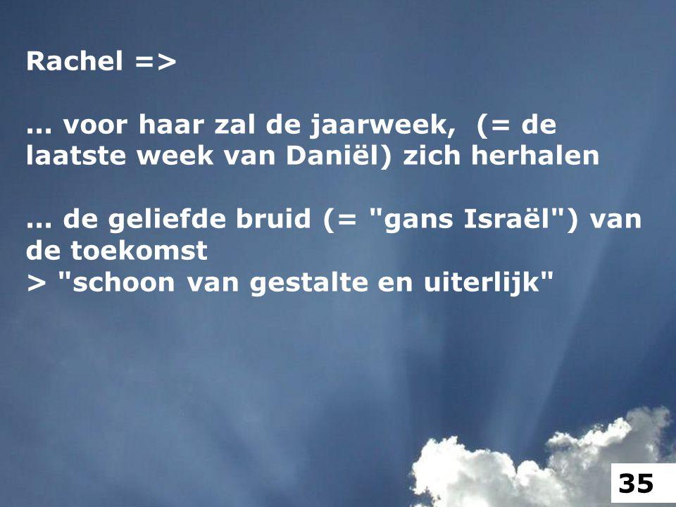 Rachel =>... voor haar zal de jaarweek, (= de laatste week van Daniël) zich herhalen... de geliefde bruid (=