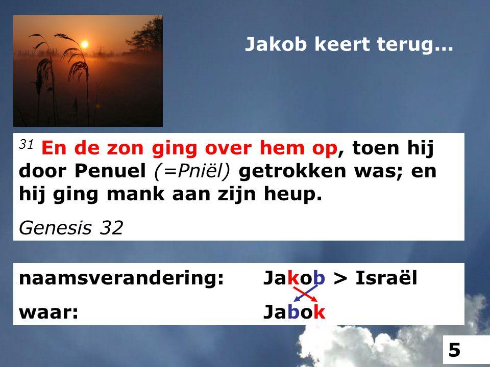 naamsverandering: Jakob > Israël waar: Jabok 31 En de zon ging over hem op, toen hij door Penuel (=Pniël) getrokken was; en hij ging mank aan zijn heu