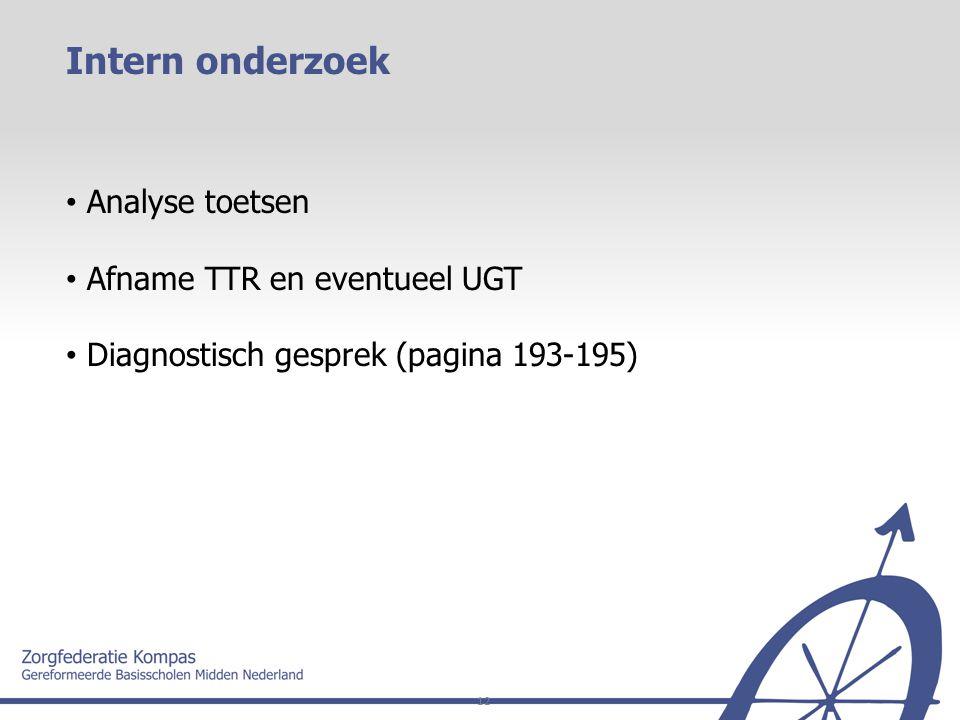 12 Analyse toetsen Afname TTR en eventueel UGT Diagnostisch gesprek (pagina 193-195) Intern onderzoek