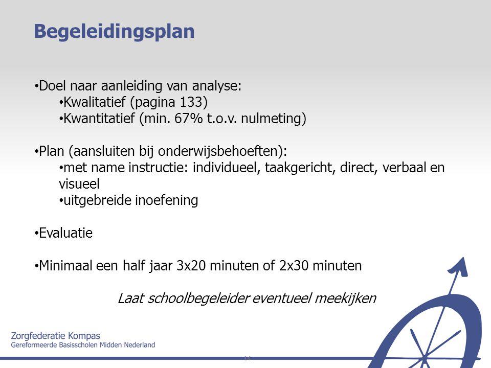 14 Doel naar aanleiding van analyse: Kwalitatief (pagina 133) Kwantitatief (min. 67% t.o.v. nulmeting) Plan (aansluiten bij onderwijsbehoeften): met n