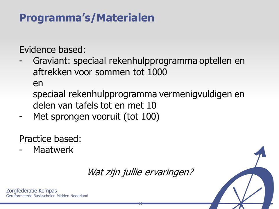 15 Evidence based: - Graviant: speciaal rekenhulpprogramma optellen en aftrekken voor sommen tot 1000 en speciaal rekenhulpprogramma vermenigvuldigen