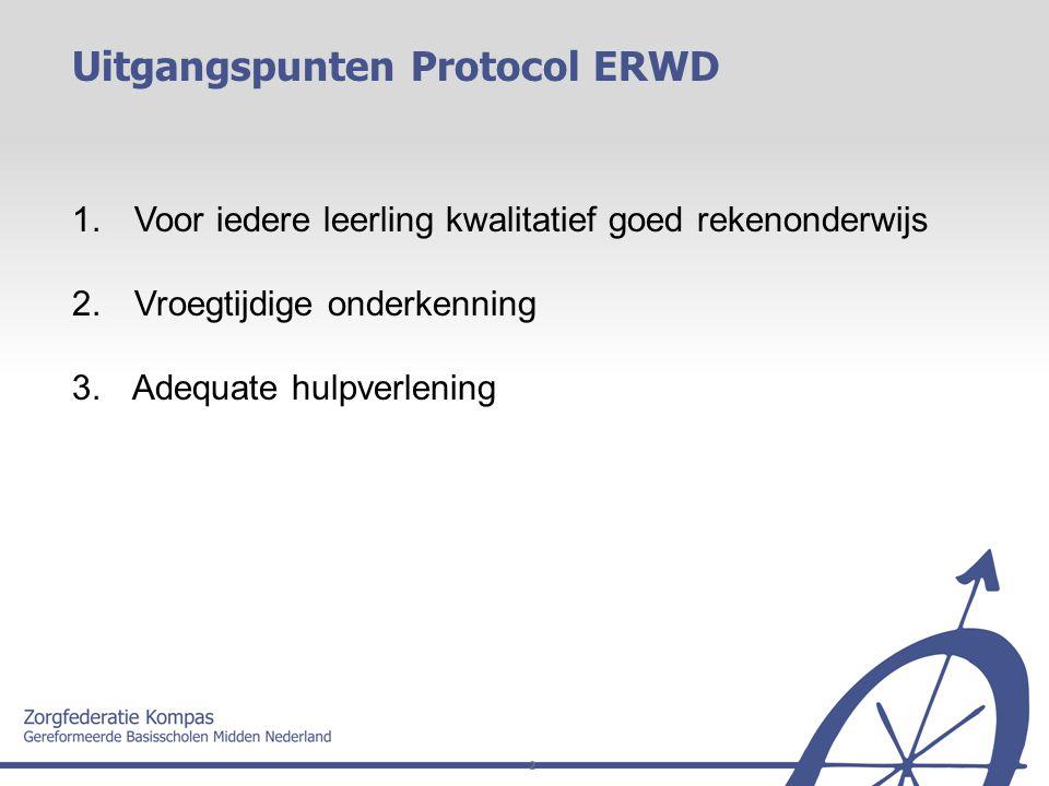 2 1. Voor iedere leerling kwalitatief goed rekenonderwijs 2. Vroegtijdige onderkenning 3. Adequate hulpverlening Uitgangspunten Protocol ERWD
