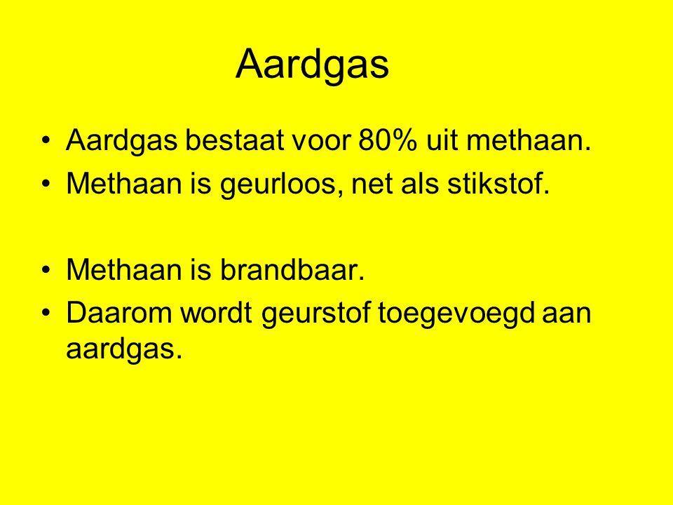 Aardgas Aardgas bestaat voor 80% uit methaan. Methaan is geurloos, net als stikstof. Methaan is brandbaar. Daarom wordt geurstof toegevoegd aan aardga