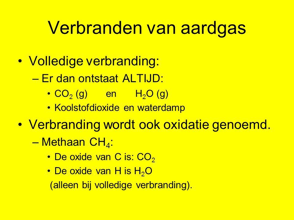 Verbranden van aardgas Volledige verbranding: –Er dan ontstaat ALTIJD: CO 2 (g) en H 2 O (g) Koolstofdioxide en waterdamp Verbranding wordt ook oxidat