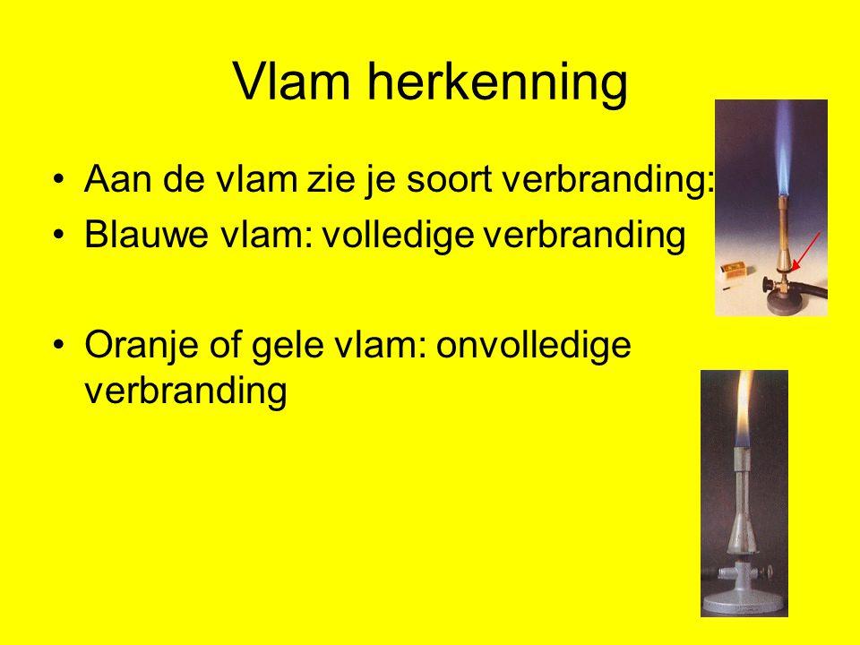 Vlam herkenning Aan de vlam zie je soort verbranding: Blauwe vlam: volledige verbranding Oranje of gele vlam: onvolledige verbranding