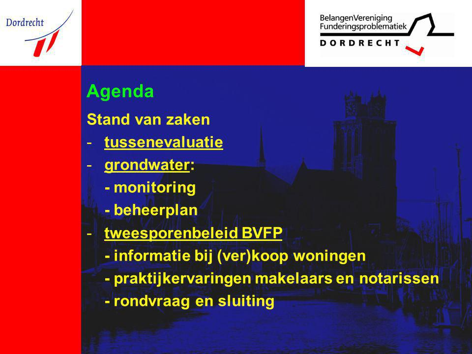 Agenda Stand van zaken -tussenevaluatie -grondwater: - monitoring - beheerplan -tweesporenbeleid BVFP - informatie bij (ver)koop woningen - praktijkervaringen makelaars en notarissen - rondvraag en sluiting