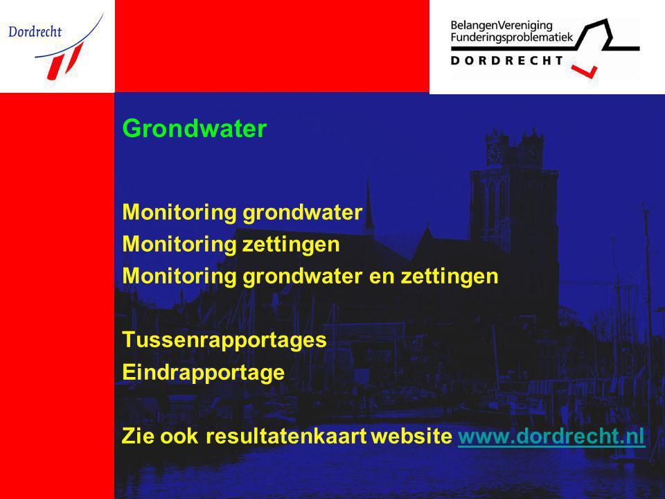 Grondwater Monitoring grondwater Monitoring zettingen Monitoring grondwater en zettingen Tussenrapportages Eindrapportage Zie ook resultatenkaart webs