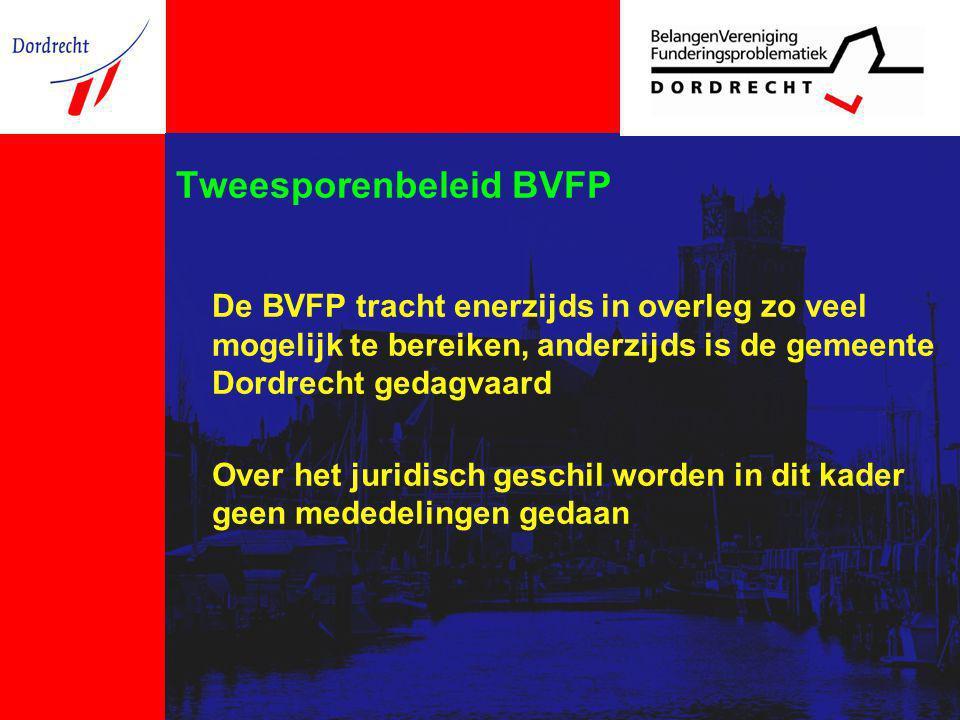 Tweesporenbeleid BVFP De BVFP tracht enerzijds in overleg zo veel mogelijk te bereiken, anderzijds is de gemeente Dordrecht gedagvaard Over het juridisch geschil worden in dit kader geen mededelingen gedaan