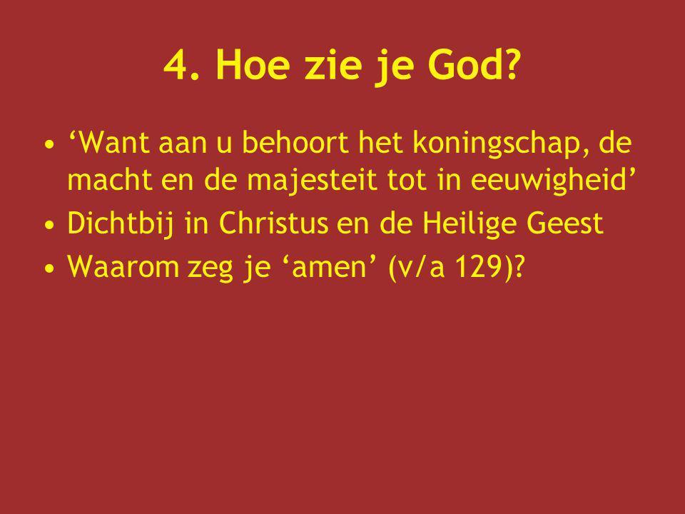 4. Hoe zie je God? 'Want aan u behoort het koningschap, de macht en de majesteit tot in eeuwigheid' Dichtbij in Christus en de Heilige Geest Waarom ze